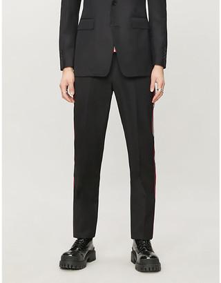 Burberry Side-stripe wide-leg wool trousers