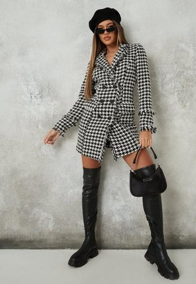 Missguided White Houndstooth Boucle Tailored Blazer Dress