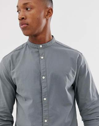 Jack and Jones plain shirt with grandad collar in stretch cotton-Green