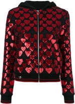 Philipp Plein sequin heart zipped hoodie