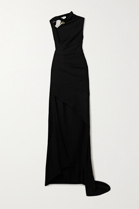 Monse Asymmetric Embellished Ruched Wool-crepe Gown - Black