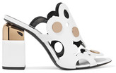 Pierre Hardy Penny Studded Cutout Leather Mules - White