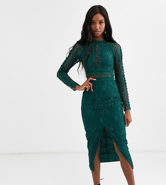 Asos Tall DESIGN Tall long sleeve pencil dress in lace with geo lace trims-Green