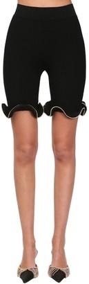 Area Flared Rib Knit Viscose Biker Shorts