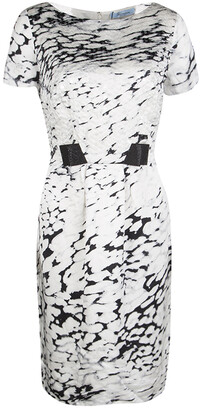 Blumarine Monochrome Animal Printed Silk Embellished Dress M