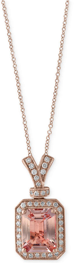 Effy Morganite (2-1/5 ct. t.w.) and Diamond (1/5 ct. t.w.) Pendant Necklace in 14k Rose Gold