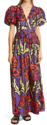 La DoubleJ Persephone Puff Sleeve Silk Maxi Dress