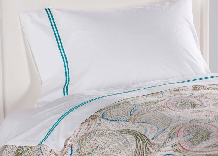 Sirena Embroidered Sheet Set, Turquoise