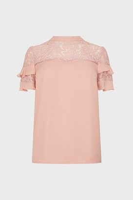 Coast Short Sleeve Lace And Ruffle Shell Top