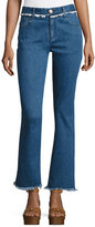 See by Chloe Frayed-Hem Flared Denim Trousers, Indigo