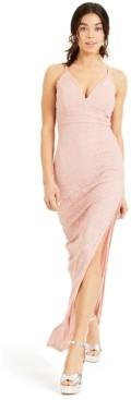 Emerald Sundae Juniors' Pink-Lace Racerback Gown