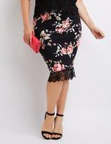 Charlotte Russe Plus Size Floral Lace-Hem Pencil Skirt