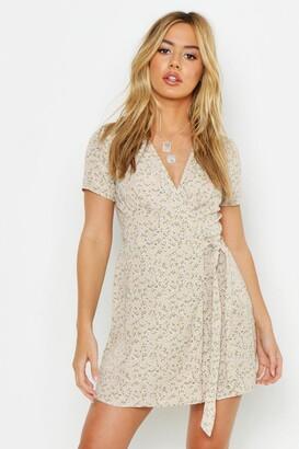 boohoo Petite Ditsy Floral Print Woven Wrap Dress