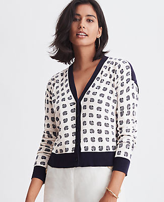 Ann Taylor Shell Top Cropped V-Neck Cardigan