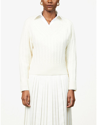 Theory V-neck cable-knit cashmere jumper