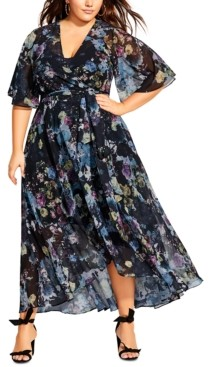 City Chic Trendy Plus Size Shadow Floral-Print Maxi Dress