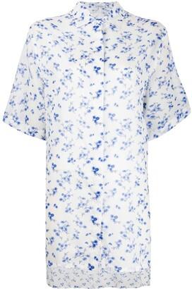 Loewe Dip-Hem Floral-Print Shirt