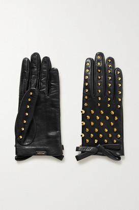 Prada Bow-detailed Studded Leather Gloves - Black