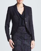 Escada Pleated Cutaway Jacket, Dark Blue
