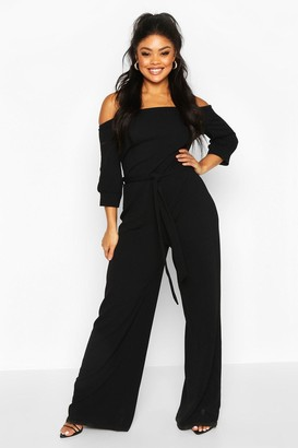 boohoo Plus Off Shoulder Tailored Self Belt Jumpsuit