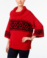 Style&Co. Style & Co. Fair Isle Cowl-Neck Sweater, Only at Macy's