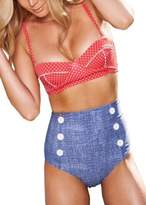 daydayfavor High Waisted Denim Bottoms Padded Bustier Top Bikini Set