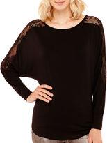 Bisou Bisou Long Dolman-Sleeve Lace-Shoulder Top