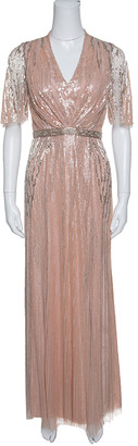 Jenny Packham Blush Pink Embellished Tulle Gown S