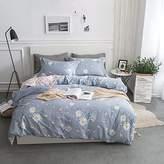BuLuTu Bedding Chrysanthemum Kids Duvet Cover Sets Twin Blue Reversible Striped Floral Bedding Cover Sets For Girls Hidden Zipper Closure With 4 Corner Ties(No Comforter)