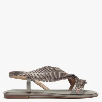 Daniel Almo Gold Metallic Satin Feather Embellished Sandals