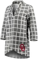 Unbranded Women's Gray Oklahoma Sooners In It To Win It Window Pane V-Neck 3/4-Sleeve Blouse