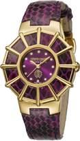 Roberto Cavalli Women's RV2L009L0031 WEBBING Diamonds Gold IP Leather Watch