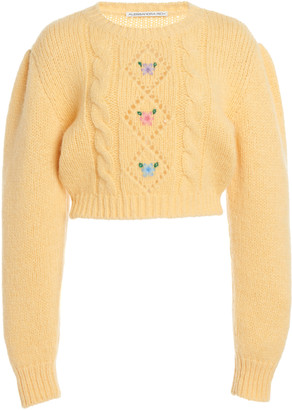 Alessandra Rich Floral-Embroidered Alpaca-Blend Cropped Sweater