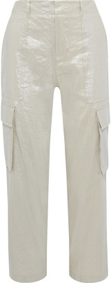 Alice + Olivia Mera Cropped Metallic Linen-blend Straight-leg Pants