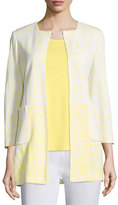 Misook 3/4-Sleeve Long Ombre Printed Jacket, Daisy/White