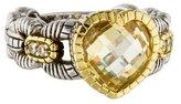 Judith Ripka Diamond & Canary Crystal Heart Ring