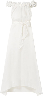 Miguelina Felicity Off-the-shoulder Silk And Cotton-blend Maxi Dress