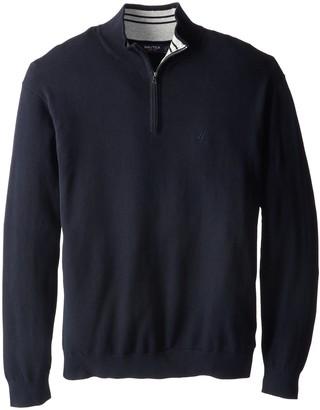 Nautica Men's Big-Tall 1/4 Zip Solid Sweater