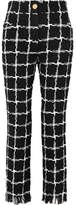 Balmain Frayed Checked Tweed Straight-leg Pants - Black