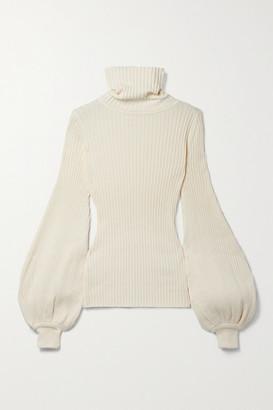 ANNA QUAN Yara Ribbed Cotton Turtleneck Sweater - Off-white