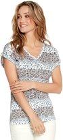 M&Co V neck floral stripe top