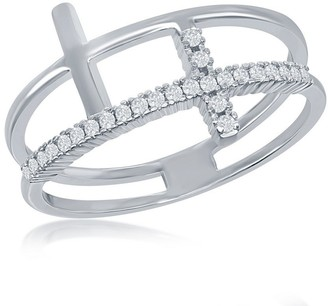La Preciosa Silver Tone Double Sideways Cross Round Cubic Zirconia Ring