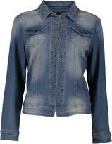 Live A Little Blue Stud-Accent Stone Wash Denim Jacket