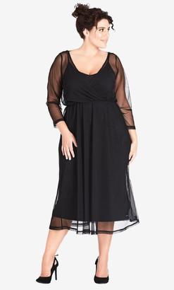 City Chic Mesh Bow Dress