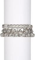 Steve Madden Link & Crystal Studded Stretch Bracelets - Set of 3
