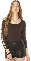 Obey The Bad Reputation Cutout Sleeve Top in Licorice