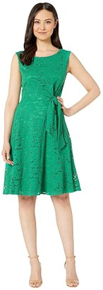 Tahari ASL Stretch Lace Side Tie Fit and Flare Dress (Tropical Green) Women's Dress