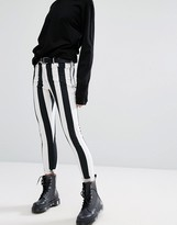 Motel Skinny Jeans In Monochrome Stripe