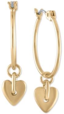 Rachel Roy Gold-Tone Baby Heart Medium Hoop Earrings