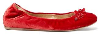 Simone Rocha Crystal-embellished Velvet Ballet Flats - Red